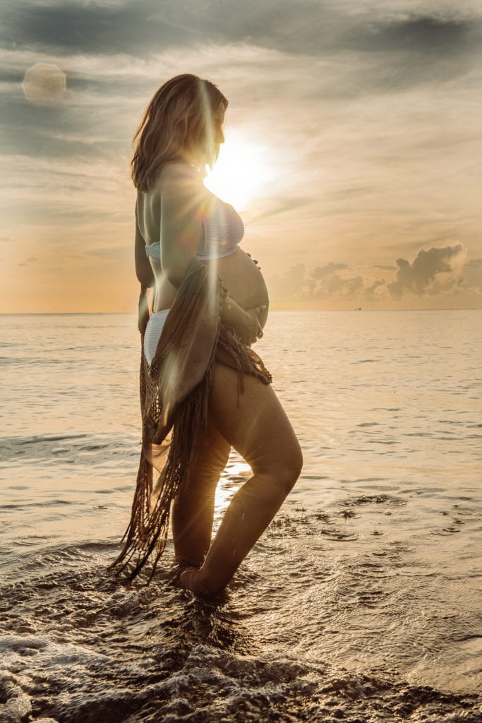 Fort Lauderdale Family Photographer, maternity shoot on the beach at sunset