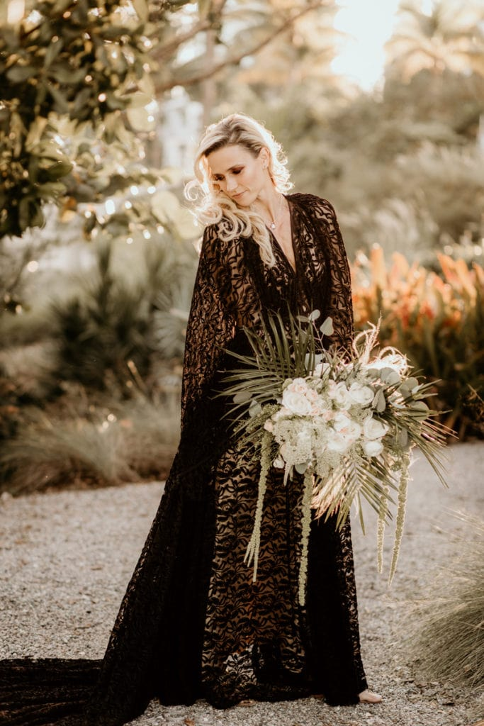 Fort Lauderdale Wedding Photographer, bride in long dark gown with big bouquet