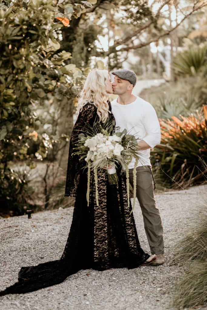 Fort Lauderdale Wedding Photographer, couple kissing in white and black